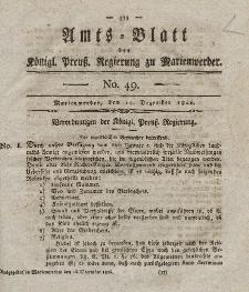 Amts-Blatt der Königl. Preuß. Regierung zu Marienwerder, 15. Dezember 1826, No. 49.