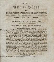 Amts-Blatt der Königl. Preuß. Regierung zu Marienwerder, 29. Dezember 1826, No. 51.