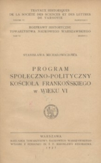 Program społeczno-polityczny kościoła frankońskiego w wieku VI