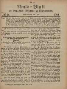 Amts-Blatt der Königlichen Regierung zu Marienwerder, 7. Mai 1902, No. 19.