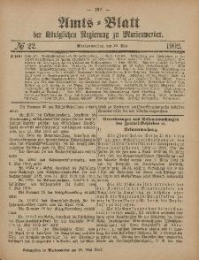 Amts-Blatt der Königlichen Regierung zu Marienwerder, 28. Mai 1902, No. 22.