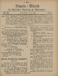 Amts-Blatt der Königlichen Regierung zu Marienwerder, 13. August 1902, No. 33.
