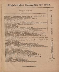 Amts-Blatt der Königl. Preuß. Regierung zu Marienwerder (Alphabetisches Sachregister - 1903)