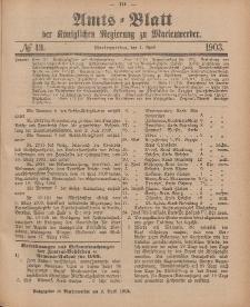 Amts-Blatt der Königlichen Regierung zu Marienwerder, 1. April 1903, No. 13.