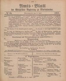 Amts-Blatt der Königlichen Regierung zu Marienwerder, 15. April 1903, No. 15.
