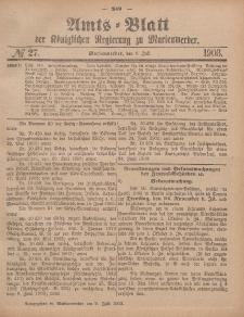 Amts-Blatt der Königlichen Regierung zu Marienwerder, 8. Juli 1903, No. 27.