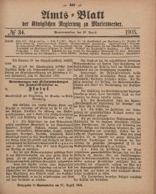 Amts-Blatt der Königlichen Regierung zu Marienwerder, 26. August 1903, No. 34.