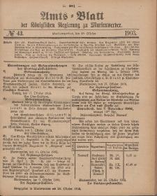 Amts-Blatt der Königlichen Regierung zu Marienwerder, 28. Oktober 1903, No. 43.