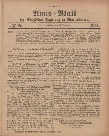 Amts-Blatt der Königlichen Regierung zu Marienwerder, 28. November 1900, No. 48.