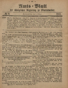 Amts-Blatt der Königlichen Regierung zu Marienwerder, 6. Februar 1901, No. 6.