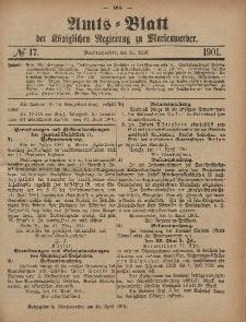 Amts-Blatt der Königlichen Regierung zu Marienwerder, 24. April 1901, No. 17.