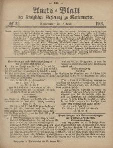 Amts-Blatt der Königlichen Regierung zu Marienwerder, 14. August 1901, No. 33.
