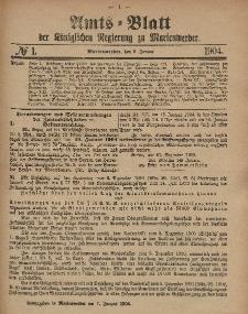 Amts-Blatt der Königlichen Regierung zu Marienwerder, 6. Januar 1904, No. 1.