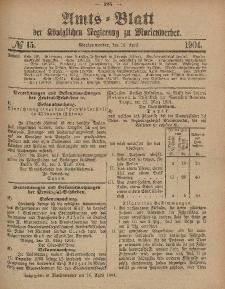 Amts-Blatt der Königlichen Regierung zu Marienwerder, 13. April 1904, No. 15.