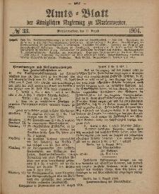 Amts-Blatt der Königlichen Regierung zu Marienwerder, 17. August 1904, No. 33.