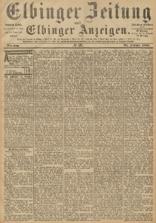 Elbinger Zeitung und Elbinger Anzeigen, Nr. 20 Dienstag 25. Januar 1887