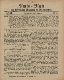 Amts-Blatt der Königlichen Regierung zu Marienwerder, 14. Dezember 1904, No. 50.