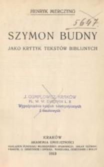 Szymon Budny jako krytyk tekstów biblijnych