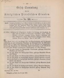 Gesetz-Sammlung für die Königlichen Preussischen Staaten, 24. Juli, 1893, nr. 20.
