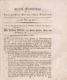 Gesetz-Sammlung für die Königlichen Preussischen Staaten, 10. Januar, 1811, nr. 9.