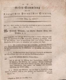Gesetz-Sammlung für die Königlichen Preussischen Staaten, 17. März, 1812, nr. 5.