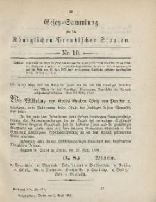 Gesetz-Sammlung für die Königlichen Preussischen Staaten, 2. April, 1890, nr. 10.