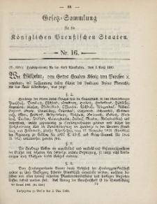 Gesetz-Sammlung für die Königlichen Preussischen Staaten, 5. Mai, 1890, nr. 16.