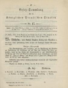 Gesetz-Sammlung für die Königlichen Preussischen Staaten, 7. Mai, 1890, nr. 17.