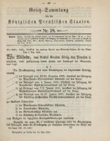 Gesetz-Sammlung für die Königlichen Preussischen Staaten, 14. Mai, 1890, nr. 18.
