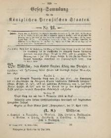 Gesetz-Sammlung für die Königlichen Preussischen Staaten, 24. Mai, 1890, nr. 21.