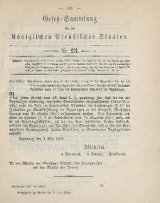 Gesetz-Sammlung für die Königlichen Preussischen Staaten, 9. Juni, 1890, nr. 23.