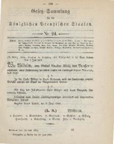 Gesetz-Sammlung für die Königlichen Preussischen Staaten, 16. Juni, 1890, nr. 24.