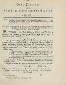 Gesetz-Sammlung für die Königlichen Preussischen Staaten, 6. September, 1890, nr. 36.