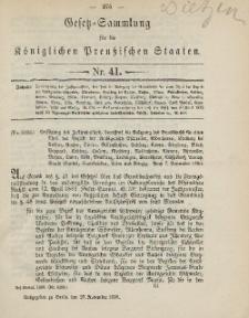 Gesetz-Sammlung für die Königlichen Preussischen Staaten, 27. November, 1890, nr. 41.