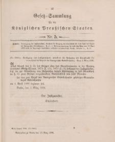 Gesetz-Sammlung für die Königlichen Preussischen Staaten, 13. März 1896, nr. 5.