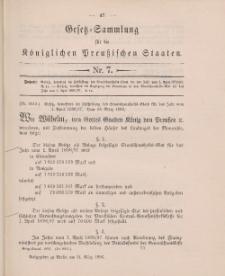 Gesetz-Sammlung für die Königlichen Preussischen Staaten, 31. März 1896, nr. 7.