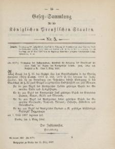 Gesetz-Sammlung für die Königlichen Preussischen Staaten, 15. März, 1887, nr. 5.
