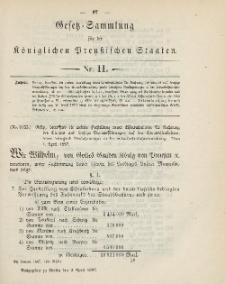 Gesetz-Sammlung für die Königlichen Preussischen Staaten, 9. April, 1887, nr. 11.