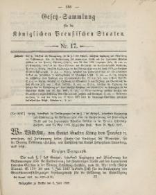 Gesetz-Sammlung für die Königlichen Preussischen Staaten, 1. Juni, 1887, nr. 17.