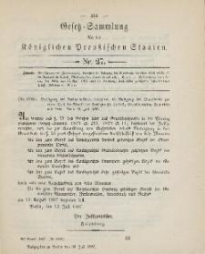 Gesetz-Sammlung für die Königlichen Preussischen Staaten, 30. Juli, 1887, nr. 27.