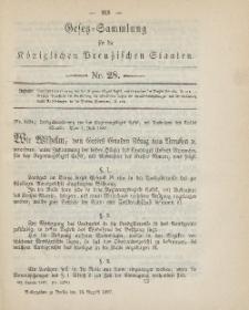 Gesetz-Sammlung für die Königlichen Preussischen Staaten, 13. August, 1887, nr. 28.