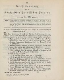 Gesetz-Sammlung für die Königlichen Preussischen Staaten, 17. August, 1887, nr. 29.