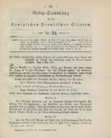 Gesetz-Sammlung für die Königlichen Preussischen Staaten, 15. September, 1887, nr. 34.