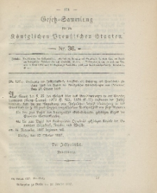 Gesetz-Sammlung für die Königlichen Preussischen Staaten, 27. Oktober, 1887, nr. 36.