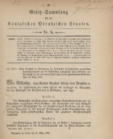 Gesetz-Sammlung für die Königlichen Preussischen Staaten, 31. März, 1883, nr. 8.