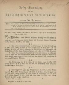 Gesetz-Sammlung für die Königlichen Preussischen Staaten, 1. April, 1883, nr. 9.