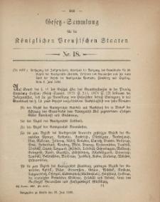 Gesetz-Sammlung für die Königlichen Preussischen Staaten, 15. Juni, 1883, nr. 18.