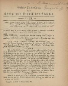 Gesetz-Sammlung für die Königlichen Preussischen Staaten, 29. September, 1883, nr. 28.