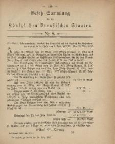 Gesetz-Sammlung für die Königlichen Preussischen Staaten, 24. März, 1882, nr. 8.