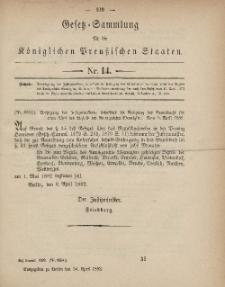 Gesetz-Sammlung für die Königlichen Preussischen Staaten, 24. April, 1882, nr. 14.